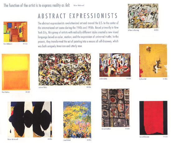 Abstract Expressionist paintings on U.S. stamps