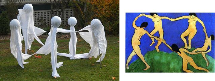 Halloween Ghosts set up like Matisse Dance Painting
