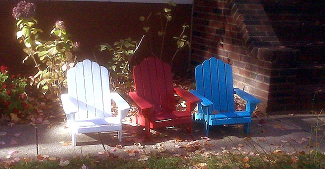 Red, white and blue chairs on Election Day, November 2, 2010