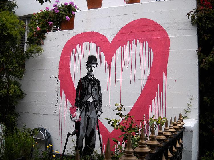 Charlie chaplin in carmel the artsology blog for Mural painted by street artist mr brainwash