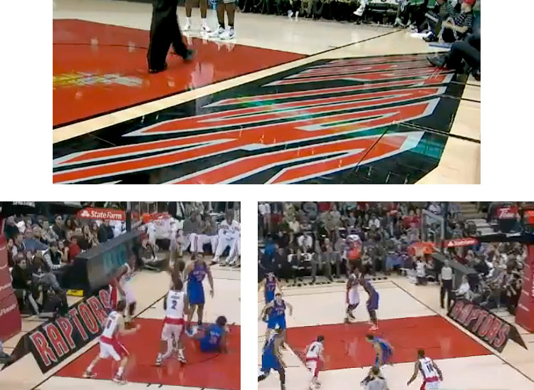 NBA Toronto Raptors have 3-D optical illusion art painted on their court