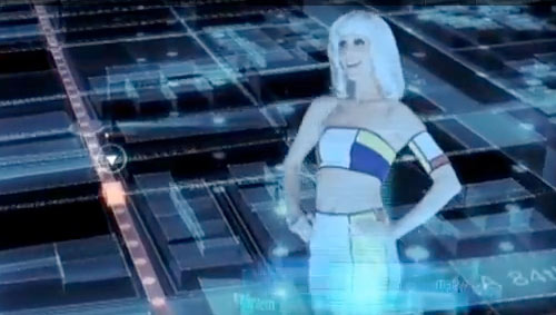 virtual woman dressed in Mondrian painting clothes in a Toyota Fun VII