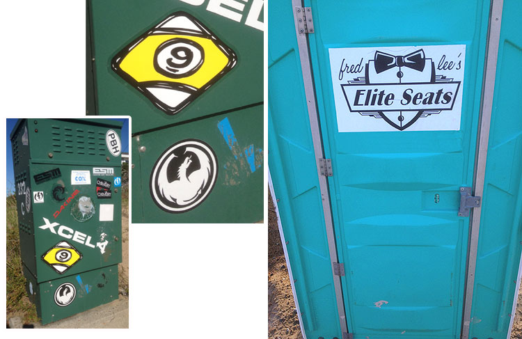 "skateboard sticker art as well as an ""elite"" porta-potty"