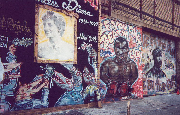 NYC graffiti showing Princess Diana, Mike Tyson, and Tupac Shakur, circa 1997