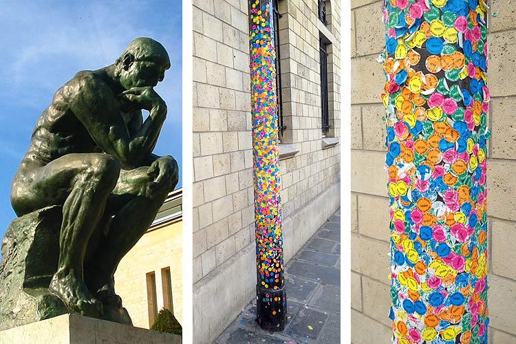 museum admission stickers on a post from the Musee Rodin in Paris