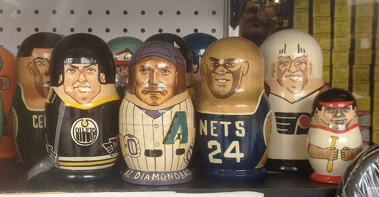 russian nesting dolls featuring pro athletes