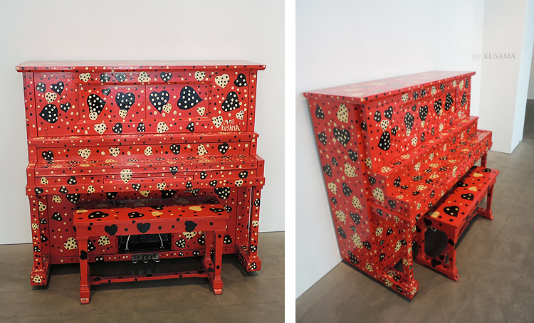 dot painted piano by Yayoi Kusama at the Robert Miller Gallery