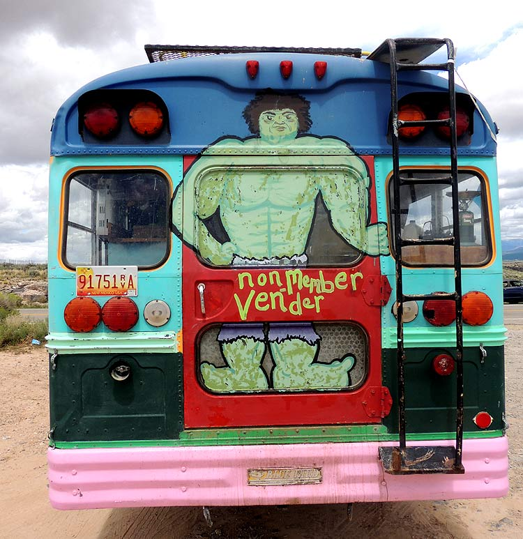 The Incredible Hulk painted on the back of a bus parked at the Rio Grande Gorge Bridge