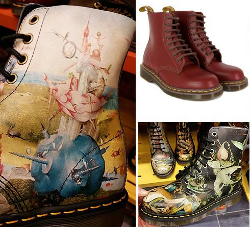 vintage Doc Marten boots and news ones featuring Hieronymus Bosch