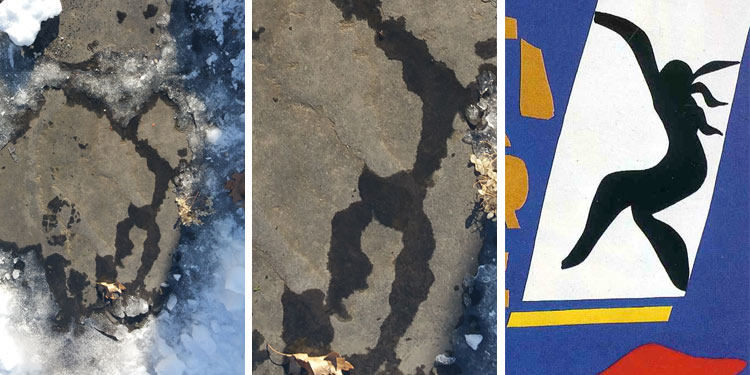 a puddle from melting snow reminds me of a Matisse cutout