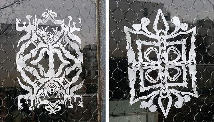 paper snowflakes on the Lower East Side