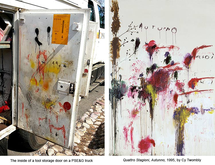 Cy Twombly painting on a electric utility truck