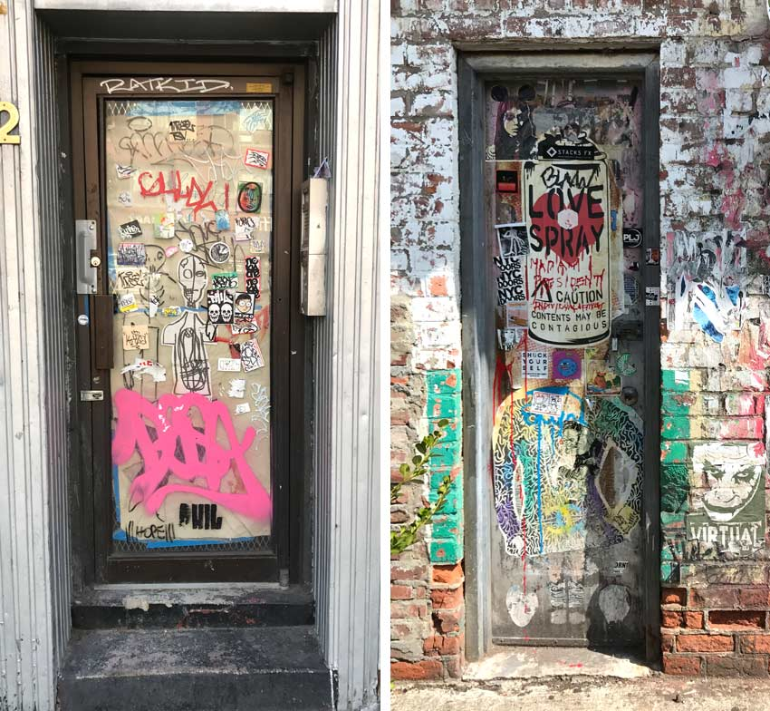 doors in NYC that are covered in street art of all types