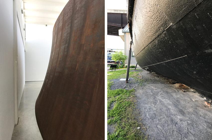 Views of Richard Serra sculpture and Tugboat Mathilda