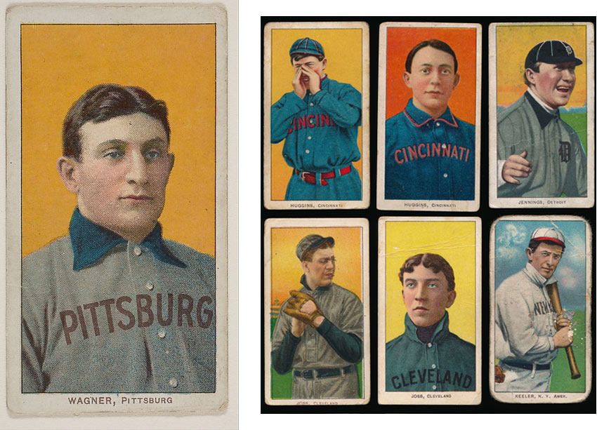 Honus Wagner baseball card and other T206 cards