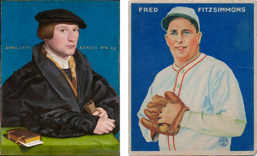 Hans Holbein painting and Fred Fitzsimmons baseball card at the Met
