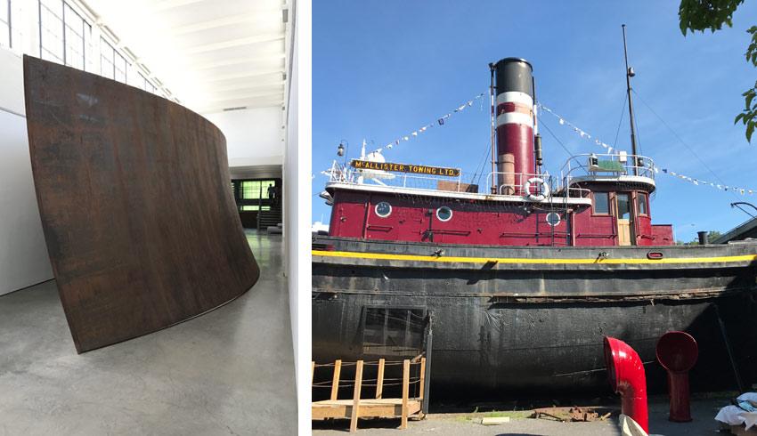 Richard Serra sculpture and Mathilda tugboat