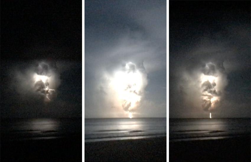 a 3-image sequence of heat lightning seen in Sandbridge, VA
