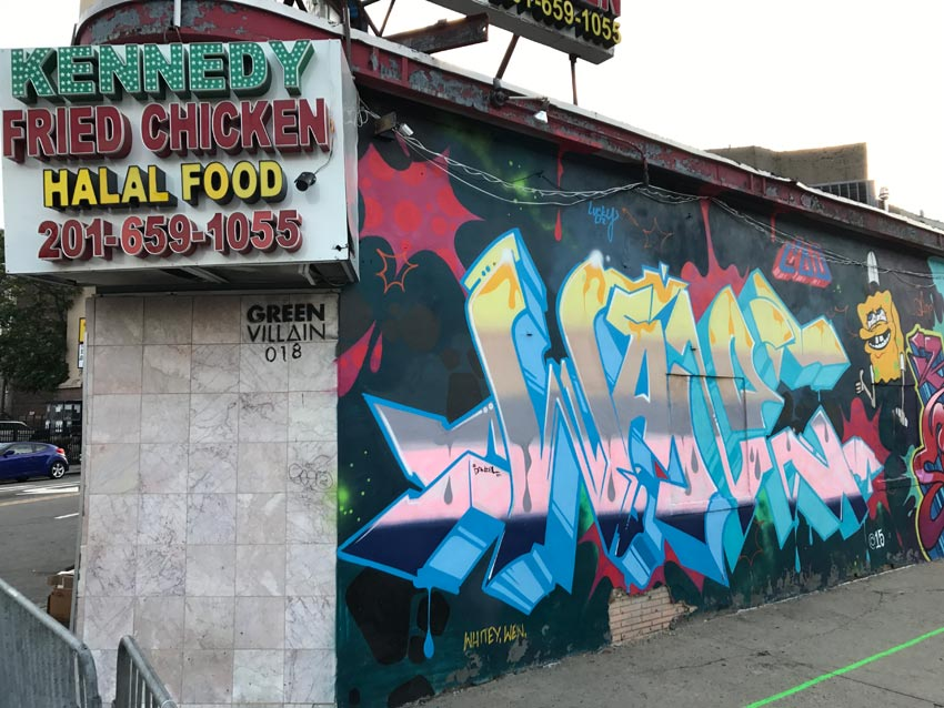 Kennedy Fried Chicken Jersey City with Green Villain mural