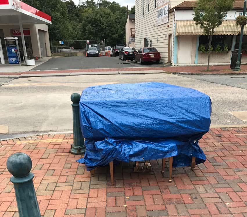 covered piano as part of SOPAC's art piano project South Orange
