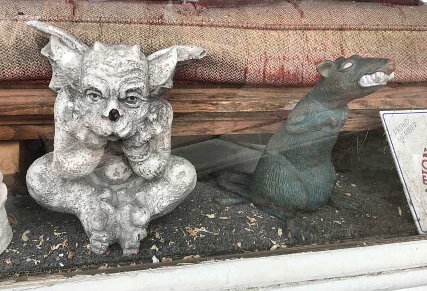 gargoyle and rat at Ye Olde Curiositie Shoppe South Orange