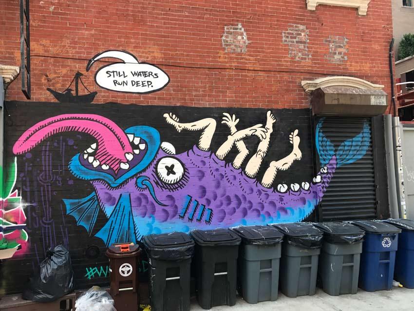 street art in Bushwick by DirkArtNYC: Still Waters Run Deep