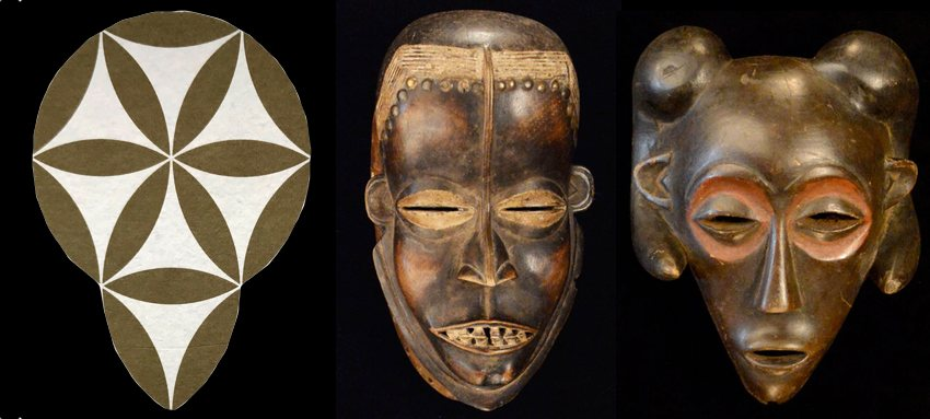 comparing African masks with a decorative pattern