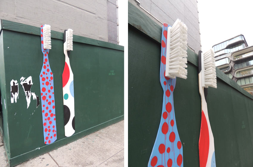 Toothbrush street art