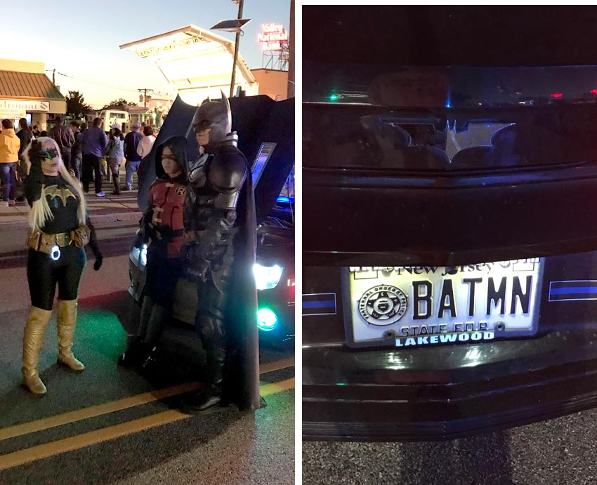 Batman and the license plate on his Batmobile