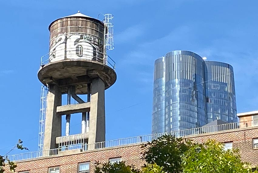 NYC watertower and 15 Hudson Yards