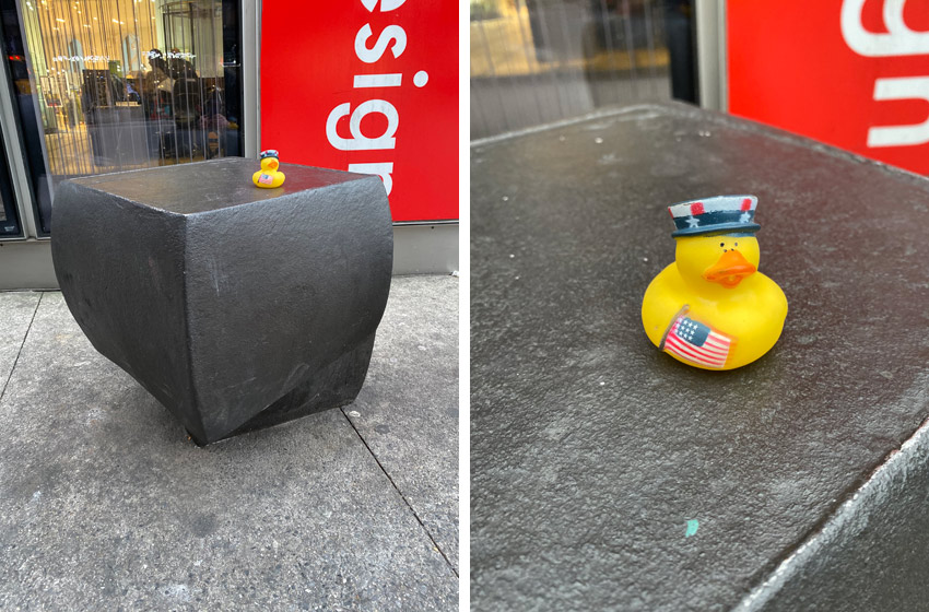 patriotic rubber ducky on bronze modern sculpture