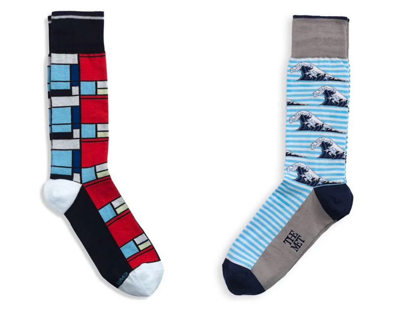 socks featuring art by Piet Mondrian and Hokusai