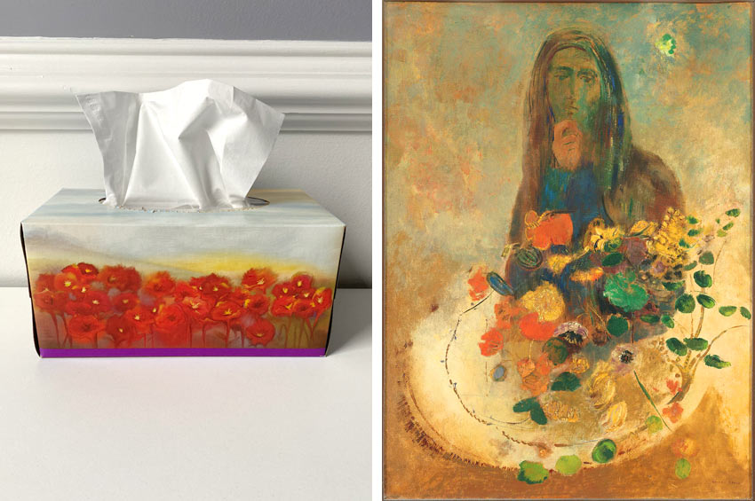 Shoprite tissue box and an Odilon Redon painting