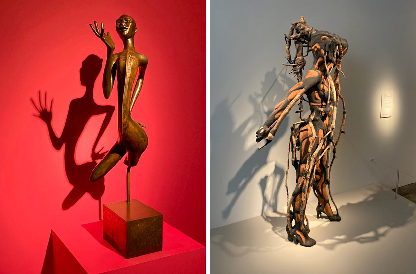 African art at the Smithsonian and the shadows created from lighting them
