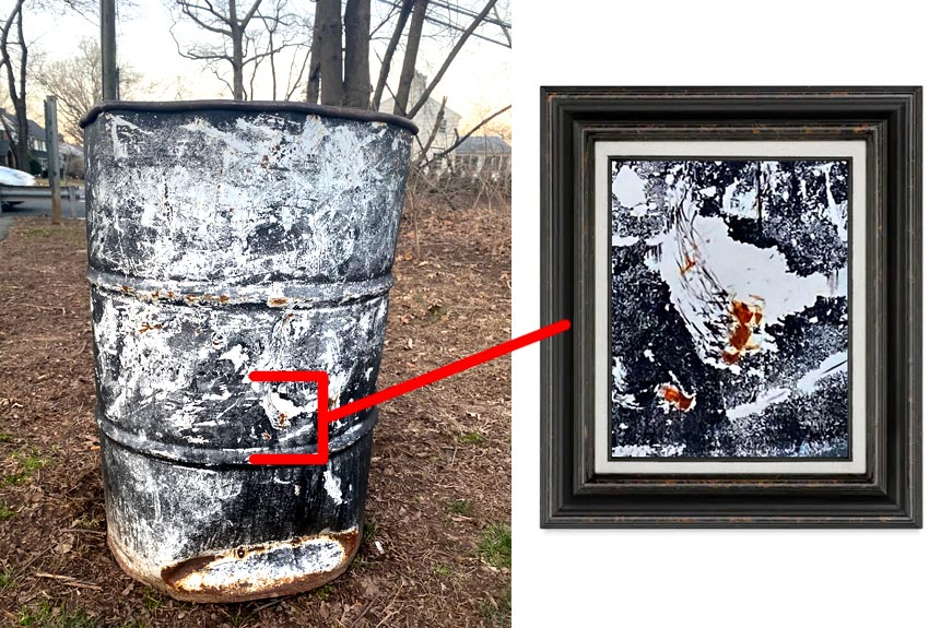 abstract art on a garbage can in Brookdale Park, NJ