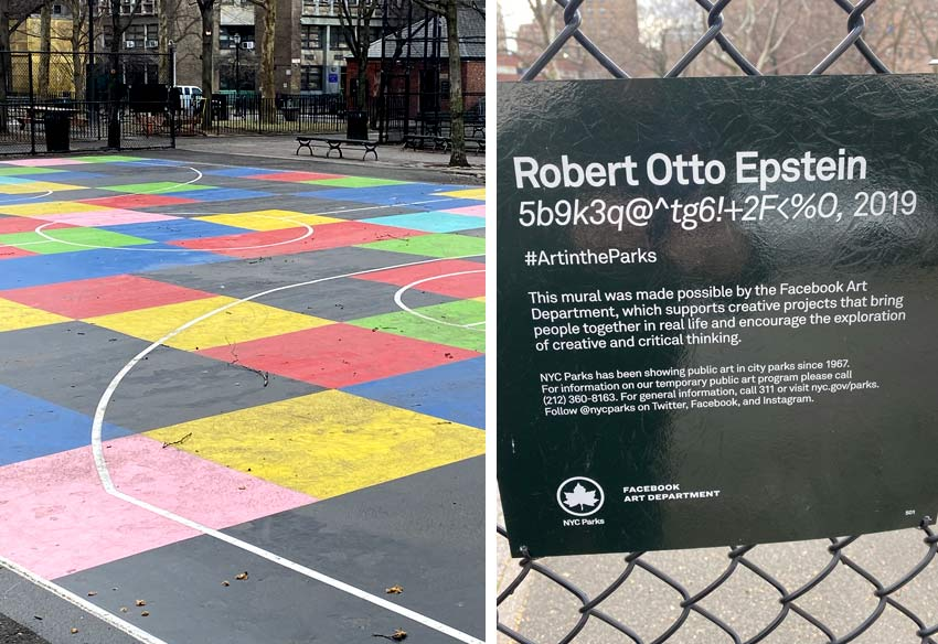basketball court art in NYC by Robert Otto Epstein