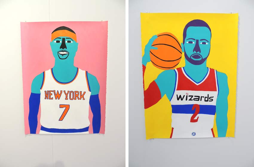 paintings of Carmelo Anthony and John Wall by Robert Otto Epstein