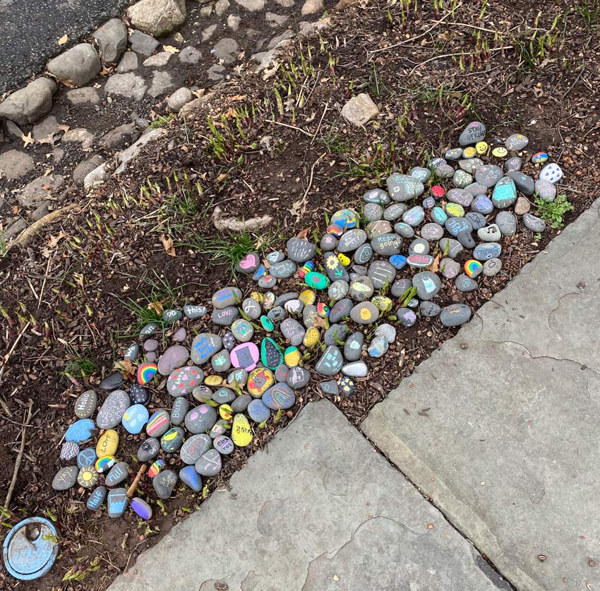rock garden with coronavirus-related messages of positivity
