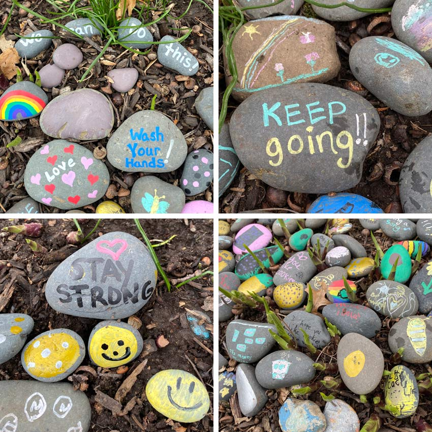 rock garden with hand-painted positive messages to counter coronavirus attitude