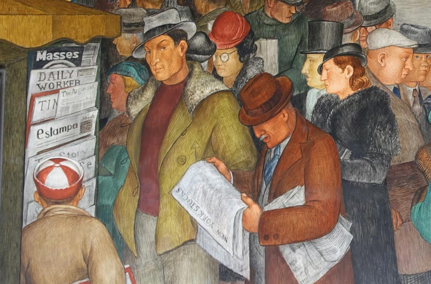Victor Arnautoff Self Portrait in Coit Tower Mural City Life