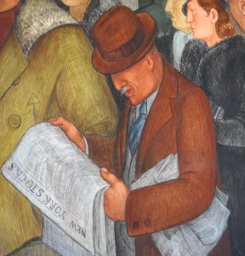 detail of a Victor Arnautoff mural at Coit Tower in San Francisco