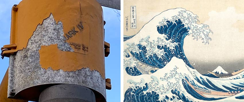 Comparing peeling paint to Hokusai Wave image