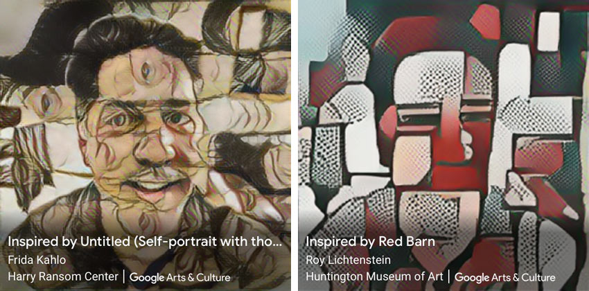 Google Art Transfer inspired by kahlo and lichtenstein