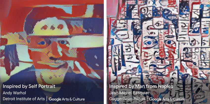 Google Art Transfer images inspired by Warhol and Basquiat