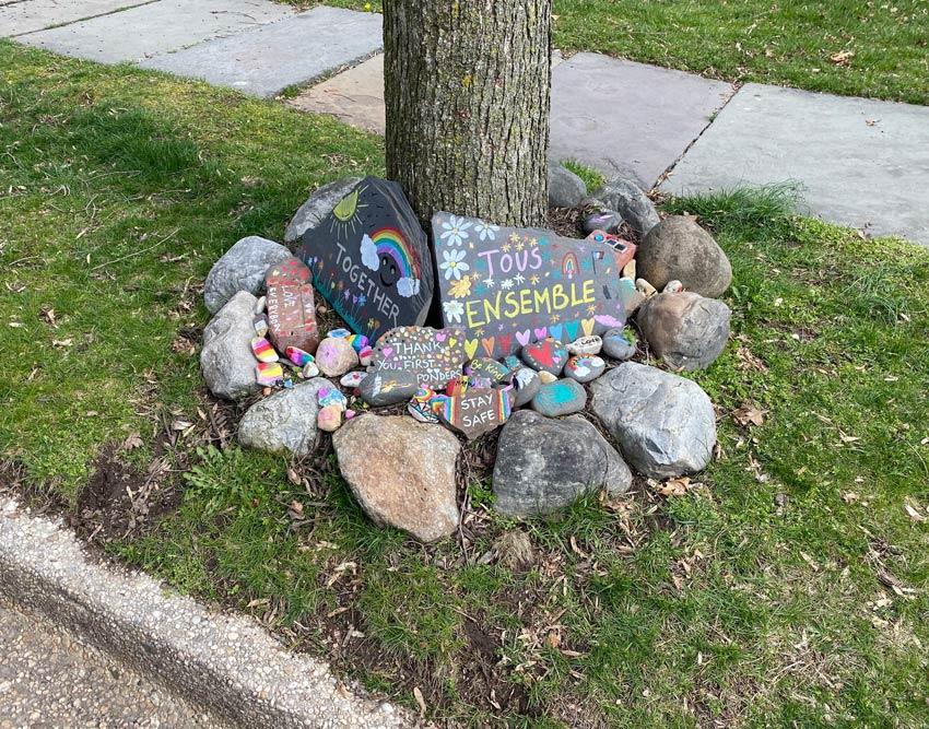 kids painted rocks covid-19