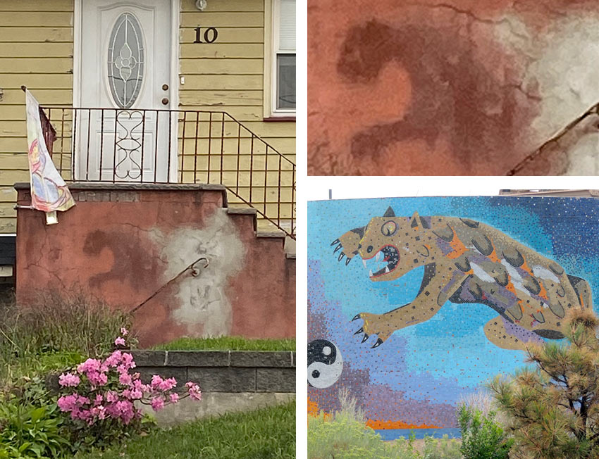 a wall stain that looks like a leaping big cat