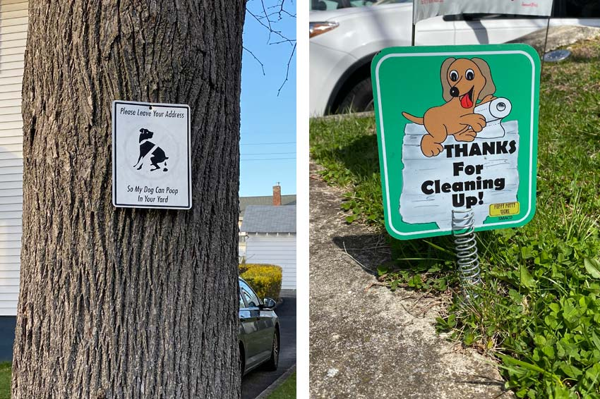 two different attitudes expressed with signs for dog walkers