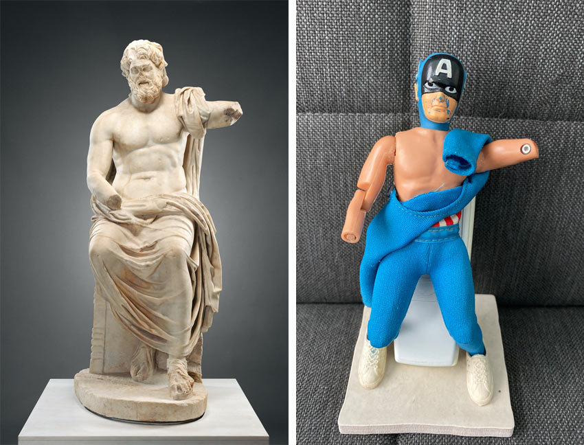 Getty Museum Challenge: Roman sculpture of Jupiter and Captain America action figure