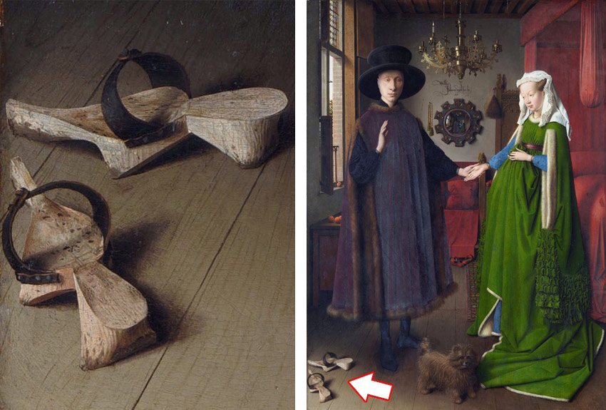 wooden clogs from Jan Van Eyck's Arnolfini Portrait