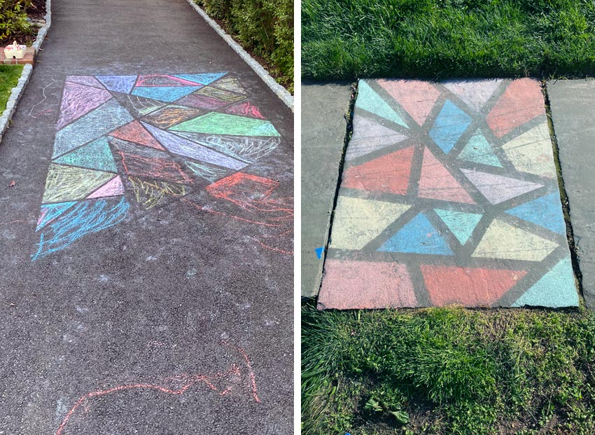 chalk drawing craze seen locally and on Pinterest